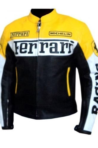 Ferrari Leather Motorcycle Jacket Yellow
