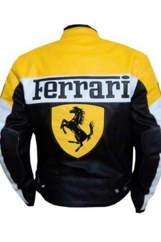 Mens Ferrari Leather Biker Jacket Yellow