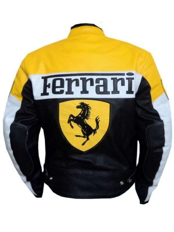 Mens Ferrari Leather Biker Jacket Yellow