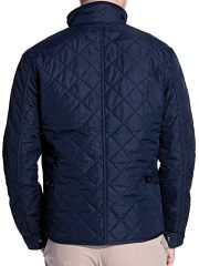 Mens Quilted Cordura Jacket Stand Collar Navy Blue Back