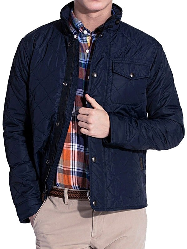 Mens Quilted Cordura Jacket Stand Collar Navy Blue Front