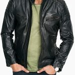 Mens Quilted Rub Off Goatskin Leather Jacket Distressed Black Front