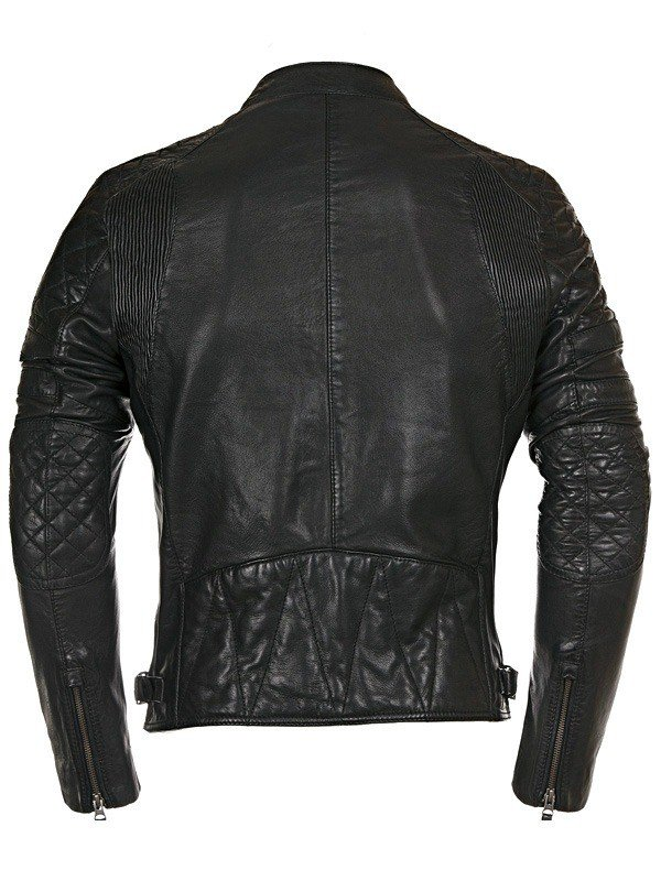 Mens Real Cowhide Quilted Leather Motorcycle Jacket Black Back