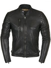Mens Real Cowhide Quilted Leather Motorcycle Jacket Black Front
