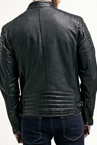 Mens Waxed Sheepskin Quilted Leather Jacket Black Back