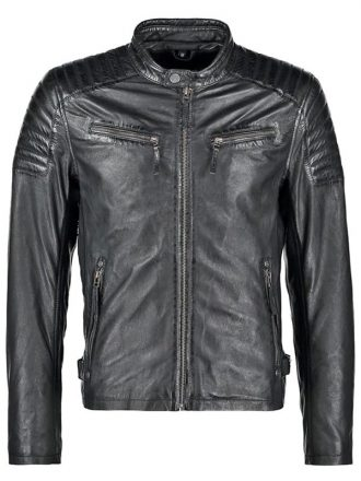 Mens Waxed Sheepskin Quilted Leather Jacket Black Front