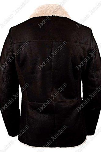 Mens Real Sheepskin Winter Shearling Fur Coat Black Back