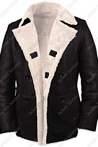 Mens Real Sheepskin Winter Shearling Fur Coat Black