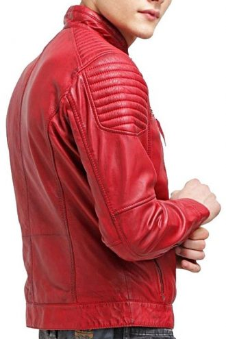Mens Waxed Sheepskin Quilted Leather Biker Jacket Red Back