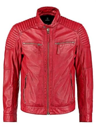 Mens Waxed Sheepskin Quilted Leather Biker Jacket Red Front