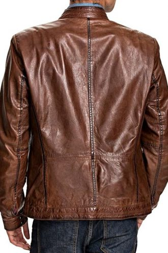 Mens Retro Cafe Racer Leather Biker Jacket Brown Back