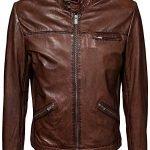 Mens Retro Cafe Racer Leather Biker Jacket Brown
