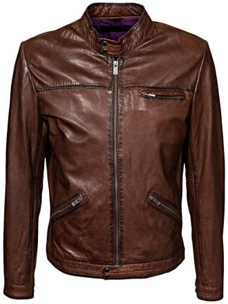 Mens Retro Cafe Racer Leather Biker Jacket Brown