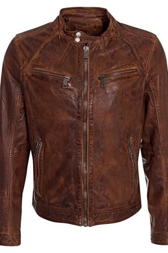Cafe Racer Leather Motorcycle Jacket Brown