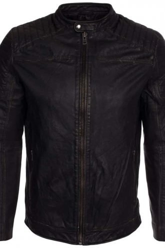Buy Mens Cafe Racer Leather Biker Jacket Distressed Black