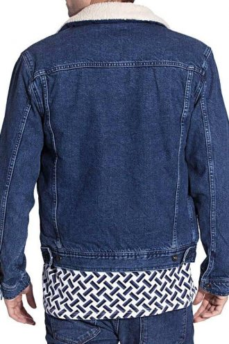 Mens Faux Shearling Fur Denim Jacket Blue Back
