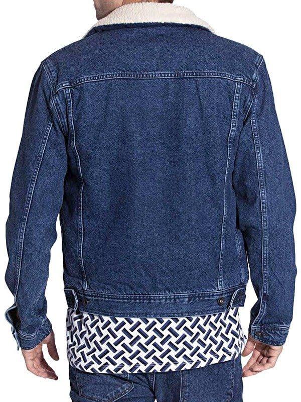 Mens Faux Shearling Fur Denim Jacket Blue Back