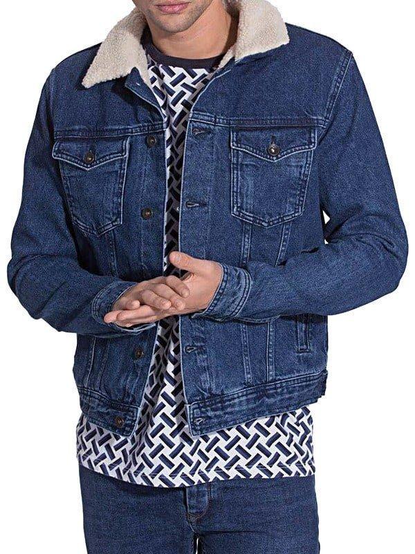 Mens Faux Shearling Fur Denim Jacket Blue Front