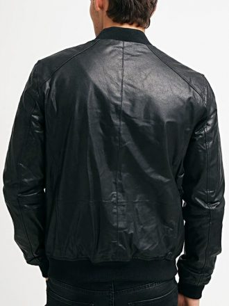 Mens Sheepskin Leather Bomber Jacket Black Back