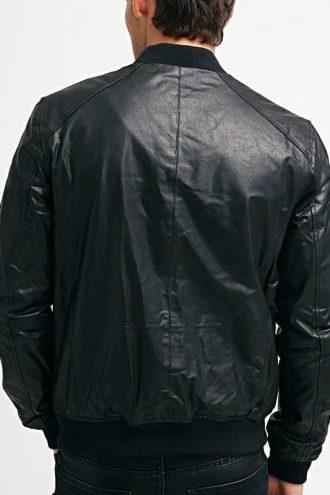 Mens Sheepskin Leather Bomber Jacket Black Back
