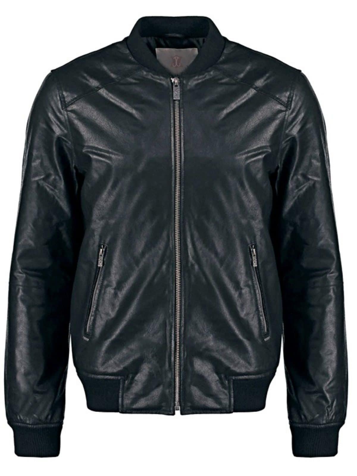 Mens Sheepskin Leather Bomber Jacket Black Front