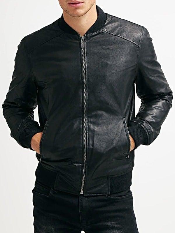 Mens Sheepskin Leather Bomber Jacket Black Front 2