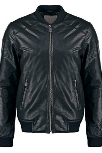 Mens Sheepskin Leather Bomber Jacket Black Front