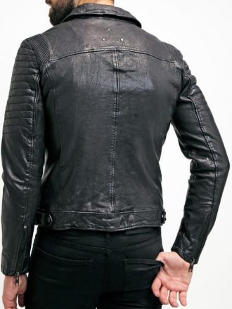Mens Sheepskin Leather Motorcycle Jacket Black BACK