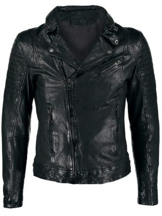 Mens Sheepskin Leather Motorcycle Jacket Black FRONT 1
