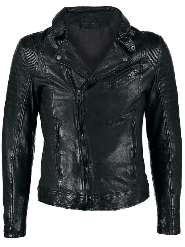Mens Sheepskin Leather Motorcycle Jacket Black FRONT 1