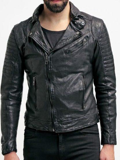 Mens Sheepskin Leather Motorcycle Jacket Black FRONT 2