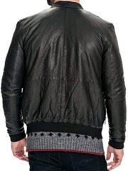 Mens Slim Fit Sheepskin Leather Bomber Jacket Black Back