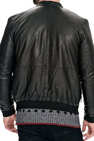 Mens Slim Fit Sheepskin Leather Bomber Jacket Black Back