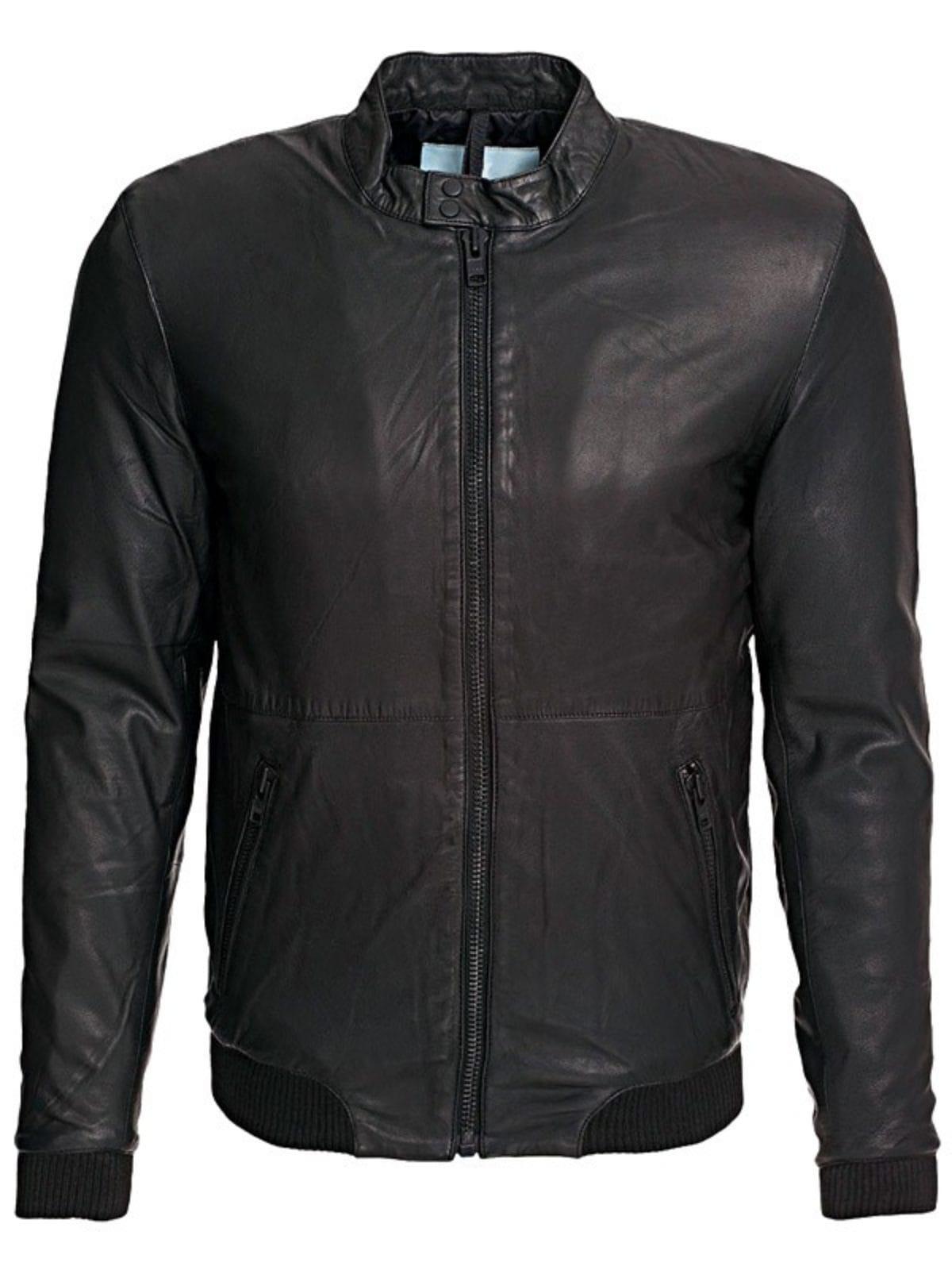 Mens Slim Fit Sheepskin Leather Bomber Jacket Black Front