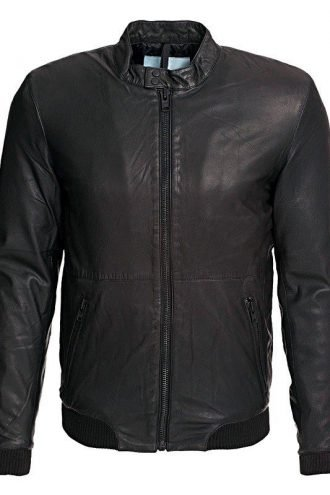 Mens Slim Fit Sheepskin Leather Bomber Jacket Black Front