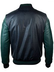 Mens Synthetic Leather Baseball Jacket Black Back