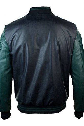 Mens Synthetic Leather Baseball Jacket Black Back