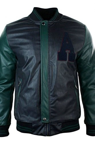 Mens Synthetic Leather Baseball Jacket Black Front