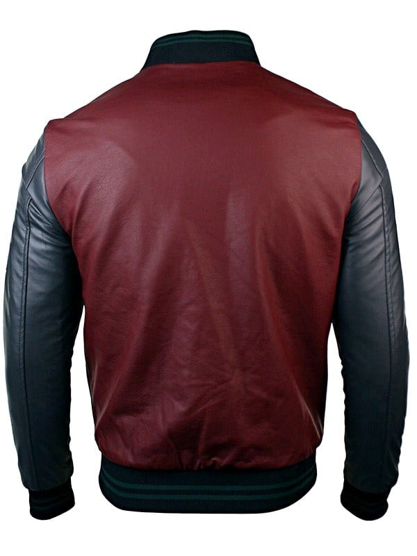 Mens Synthetic Leather Baseball Jacket Maroon back