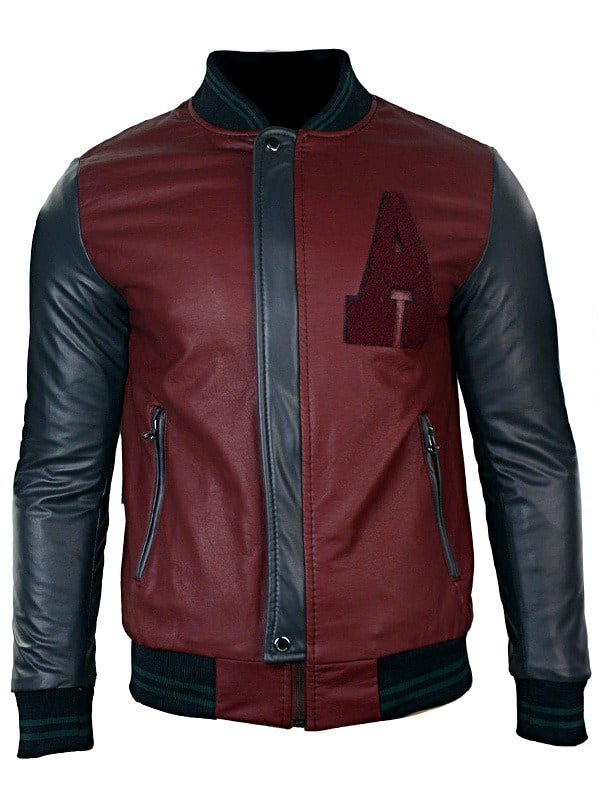 Mens Synthetic Leather Baseball Jacket Maroon Front