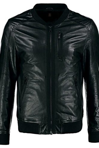 Mens Varsity Sheepskin Nappa Leather Bomber Jacket Black Front
