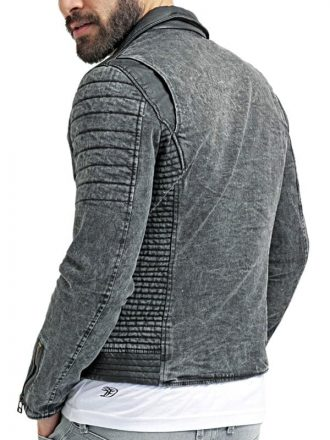 Mens Vintage Black Washed Canvas Denim Biker Jacket BACK