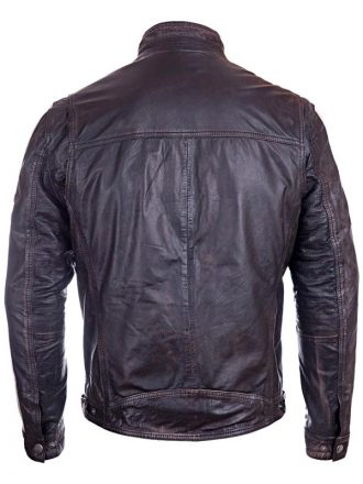 Mens Vintage Cafe Racer Distressed Leather Biker Jacket Black BACK