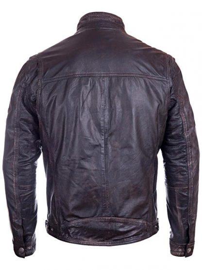 Mens Vintage Cafe Racer Distressed Leather Biker Jacket Black BACK