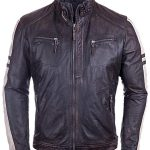 Mens Vintage Cafe Racer Distressed Leather Biker Jacket Black FRONT