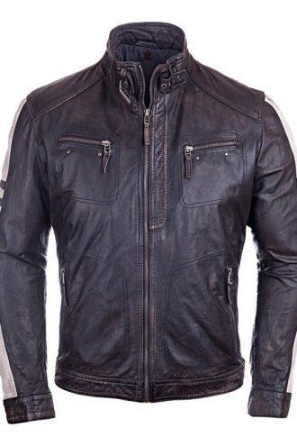 Mens Vintage Cafe Racer Distressed Leather Biker Jacket Black FRONT