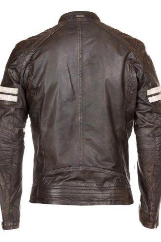 Mens Cafe Racer Leather Biker Jacket Brown with White Stripes Back