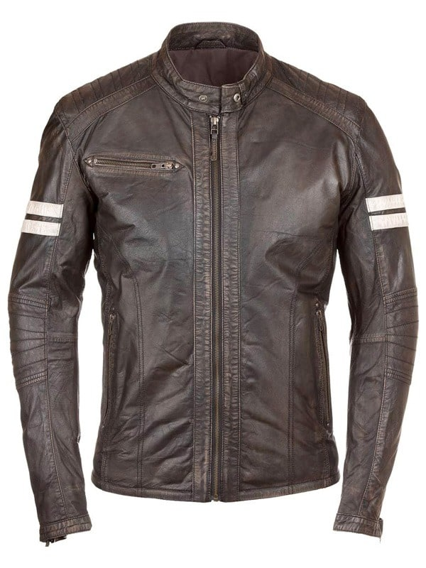 Mens Cafe Racer Leather Biker Jacket Brown with White Stripes Front