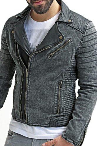 Mens Vintage Sheepskin Leather Denim Biker Jacket Black 01