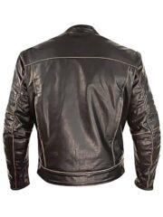 Mens Vintage Style Cowhide Leather Biker Jacket Dark Brown Back